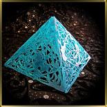 фигурка карам. 3D Пирамида голубая  h80мм