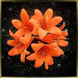 цветок Лилия  70мм оранжевая 5шт. мастика сах.