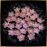 цветок Яблочный цвет 20мм темн.-фиолетовый с желтой серединкой 25шт. мастика сах.