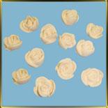 цветок Роза 20мм (оттиск) белая 12шт. мастика сах.