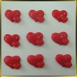 декор шок. Сердечки гладкие двойные (больш. и мал.) красн.