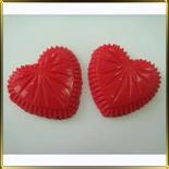 декор шок. Сердечки хрустальные красн.