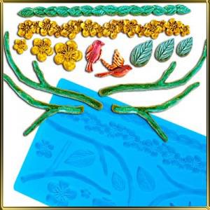 форма силикон. Сакура, ветки, листики, гирлянды