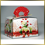 коробка (упаковка) д/торта прямоуг.  97*137* 87мм Сундучок красный