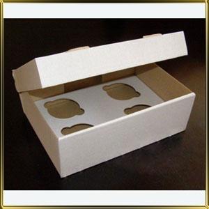 коробка (упаковка) д/капкейка (на  4шт.) белая