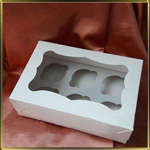 коробка (упаковка) д/капкейка (на  6шт.) белая h= 80мм с окошком