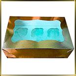 коробка (упаковка) д/капкейка (на  6шт.) золотая ажурная с окошком