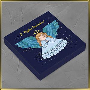 коробка (упаковка) д/конфет, макаронс, мини капкейков для 16шт. новогодняя Ангел (цельная)