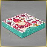коробка (упаковка) д/конфет, макаронс, мини капкейков для 16шт. новогодняя Дед Мороз/Санта Клаус (цельная)