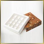 коробка (упаковка) д/конфет, макаронс, мини капкейков для 16шт. темн. фон (пенал)