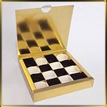 коробка (упаковка) д/конфет, макаронс, мини капкейков для 16шт. золотая (цельная)