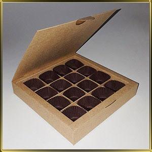 коробка (упаковка) д/конфет, макаронс, мини капкейков для 16шт. коричневая (цельная)