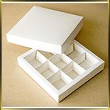 коробка (упаковка) д/конфет, макаронс, мини капкейков для  9шт. белая (дно + крышка)