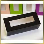 коробка (упаковка) д/макаронс 141*59*49мм черная с окошком