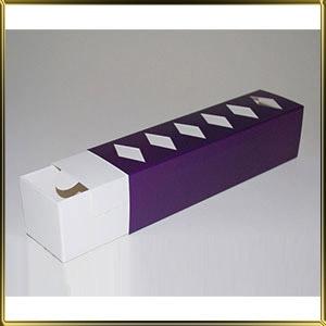 коробка (упаковка) д/макаронс 200*50*50мм фиолетовая с окошком