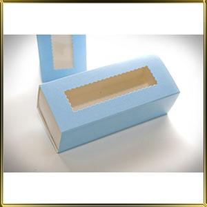 коробка (упаковка) д/макаронс 141*59*49мм голубая с окошком