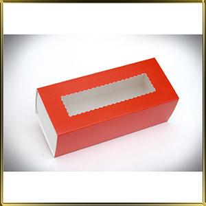 коробка (упаковка) д/макаронс 141*59*49мм красная с окошком