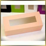 коробка (упаковка) д/макаронс 141*59*49мм персиковая с окошком