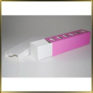 коробка (упаковка) д/макаронс 200*50*50мм розовая с окошком