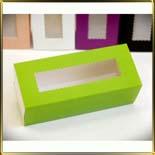 коробка (упаковка) д/макаронс 141*59*49мм зеленая с окошком