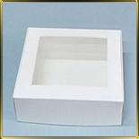 коробка (упаковка) д/пирожных 200*200*70мм белая с окошком