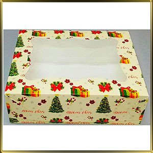 коробка (упаковка) д/пирожных 250*170* 80мм Елка с окошком