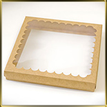 коробка (упаковка) д/пряников 210*210*30мм коричневая с окошком