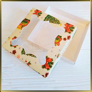 коробка (упаковка) д/пряников 205*205*30мм Елка с окошком