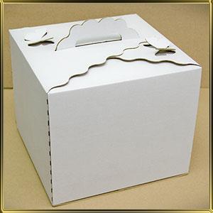 коробка (упаковка) д/торта квадр. 300*300*250мм белая ажурная с бабочками