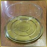 коробка (упаковка) д/торта кругл. 205*125мм (1шт.) дно золотое