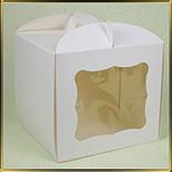 коробка (упаковка) д/торта квадр. 230*230*210мм белая с окошком (мелованный картон)