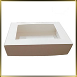 коробка (упаковка) д/торта прямоуг. 330*150*110мм белая с окошком