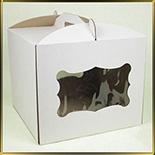 коробка (упаковка) д/торта квадр. 300*300*250мм белая с окошком