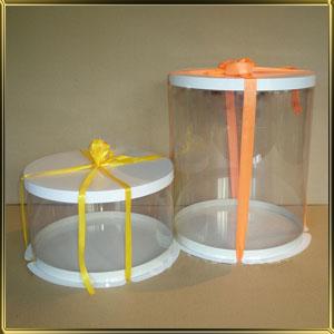 коробка (упаковка) д/торта кругл. 300/195мм прозр./белая