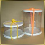 коробка (упаковка) д/торта кругл. 175/125мм прозр./белая