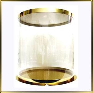 коробка (упаковка) д/торта кругл. 250/195мм прозр./золотая