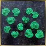 листик 30, 37мм Круглый с прожилками зеленый 6+6шт. мастика сах.