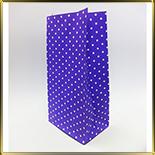 пакет бум. 190*95*65мм фиолетовый с бел. горошком 10шт.