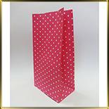 пакет бум. 190*95*65мм розовый с бел. горошком 10шт.
