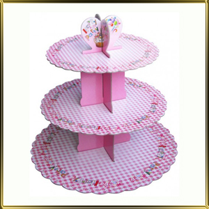подставка д/пирожн. картон. 3 ярус. Розовая клетка