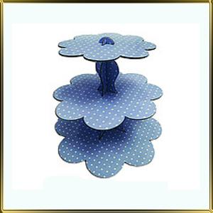 подставка д/пирожн. картон. 3 ярус. Голубой горошек