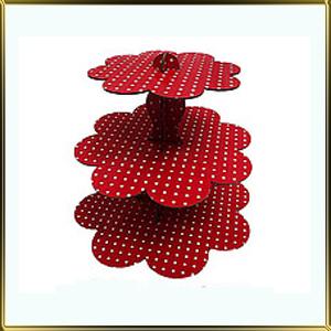 подставка д/пирожн. картон. 3 ярус. Красный горошек