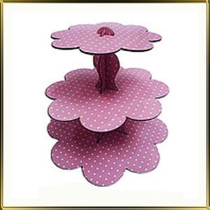 подставка д/пирожн. картон. 3 ярус. Розовый горошек
