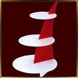 подставка фуршет. 3 ярусная Овал на красной стойке