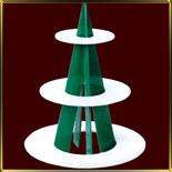 подставка фуршет. 3 ярусная Круг на зеленой стойке