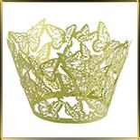 бордюр-тарталетка дно d50*h55мм Бабочки салатовая перлам. (10шт.)