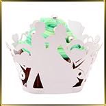 бордюр-тарталетка дно d50*h55мм Жених и невеста белая (10шт.)