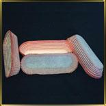 тарталетка овал.  70*30*19мм розовая полоса (200шт.)