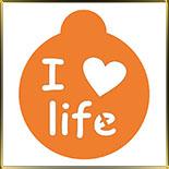 трафарет д/капуччино I love (сердце) life