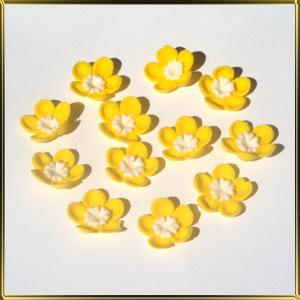 цветок 5 лепестков 25мм желтый с белой серединкой-цветком 12шт. мастика сах.